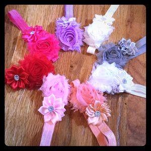Baby Flower Rhinestone Elastic Headbands Bows Lot